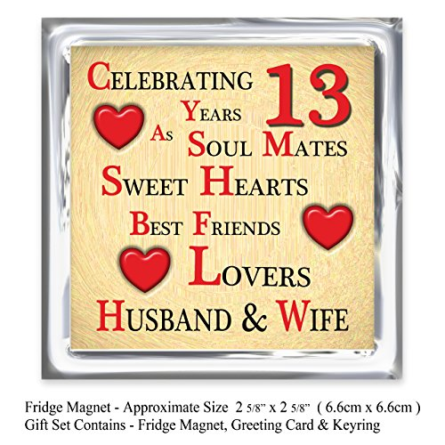 Our 13th Wedding Anniversary Gift Set - Card, Keyring ...