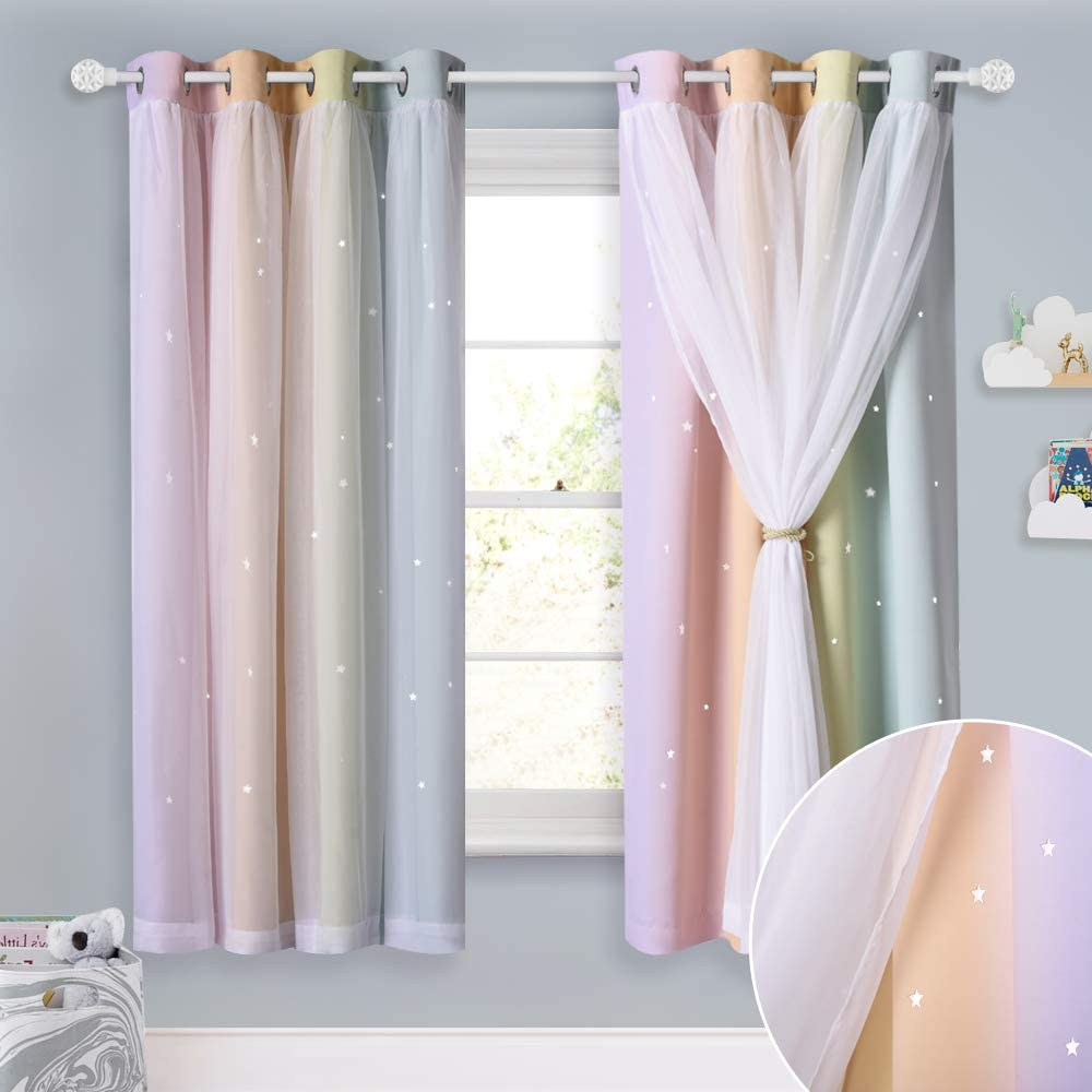 Amazon Com Nicetown Kids Curtains Teen Girl Bedroom Decor Stars Cut Out Rainbow Stripe Blackout Drapes With Sheer Curtains 63 Inch Length For Living Room Nursery 2 Panels 52 Inches Wide Rainbow Home