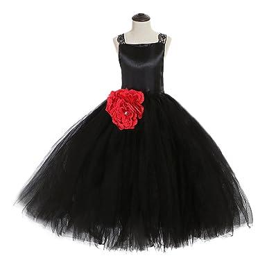 Babyonline Mädchen Kleider Hochzeit Prinzessin Party Kleid Schwarz Baby  Mädchen Sommer Kleid Träger Blumenmädchen Kleid Lang fba06d82c5