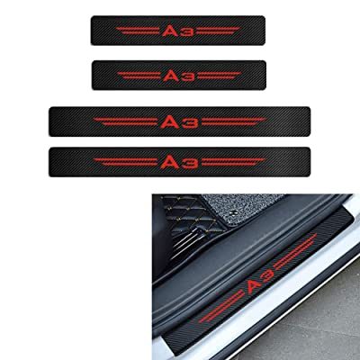 MAXDOOL 4Pcs Audi S line Door Sill Protector Reflective 4D Carbon Fiber Sticker Decoration Door Entry Guard Door Sill Scuff Plate Stickers for Audi A4 A3 Q5 Q3 S3 S4 S line Quattro RS7 (A3-Red): Automotive