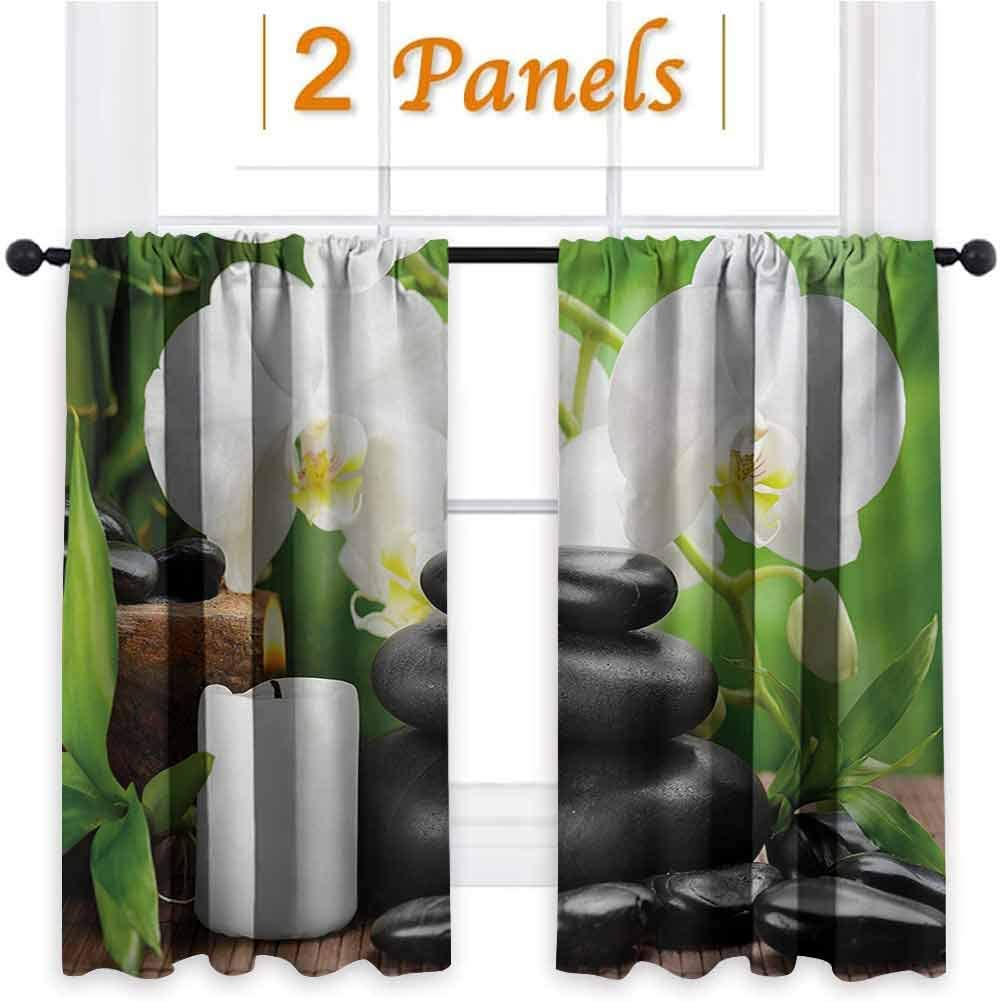 Amazon Com Paradisedecor Spa Room Darkening Curtains Sunlight Shades Draperies For Nursery Black White And Green Zen Hot Massage Stones With Orchid Candles And Magnificent Nature Remedies 42x45 Inch Home Kitchen