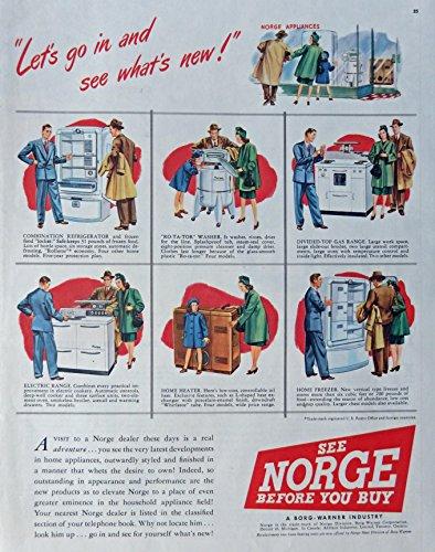 Appliance Ads Vintage (Norge Appliances, Print Ad. Color Illustration (what's new) Original 1947 Collier's Magazine Art)