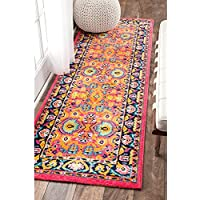 25 x 8 Vibrant Floral Persian Color Runner Rug, Pink Orange Blue Yellow, Oriental Paisley Flower Polypropylene Soft Plush Living Room Kitchen Hallway Accent Carpet