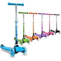 3Style Scooters® RGS-1 Little Kids Three Wheel Kick Scooter - Perfect for Children Aged 3+ - LED Light-Up Wheels, Foldable Design, Adjustable Handles & Lightweight Construction