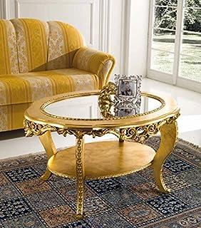 Mocada Tavolino classico da salotto intagliato a foglia avorio/oro ...