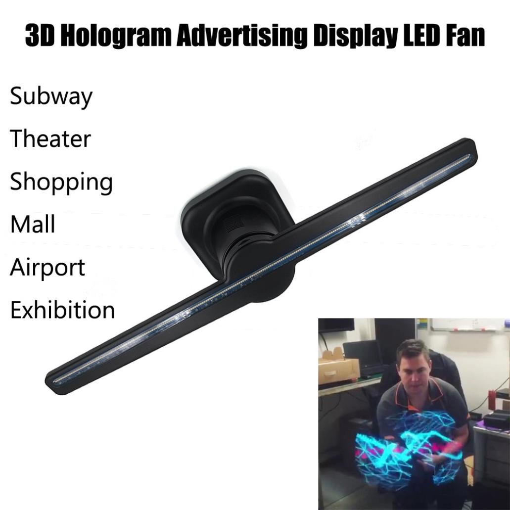 Advertising Display,Hongxin Multifunctional New Cool 3D Hologram Advertising Display LED Fan Holographic Imaging 3D Naked Eye LED Fan High-End Business Gifts