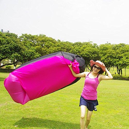 Flashtek tragbares aufblasbares Sofa, wasserdichtes Luft-Sofa Aufblasbare Liege, Luftliege aufblasbare Couch, Luftbett-Strand-Liege ideal für das Reisen, Pool, Strand-Party und kampierende Ausrüstung Pink Sofa with fabric cover