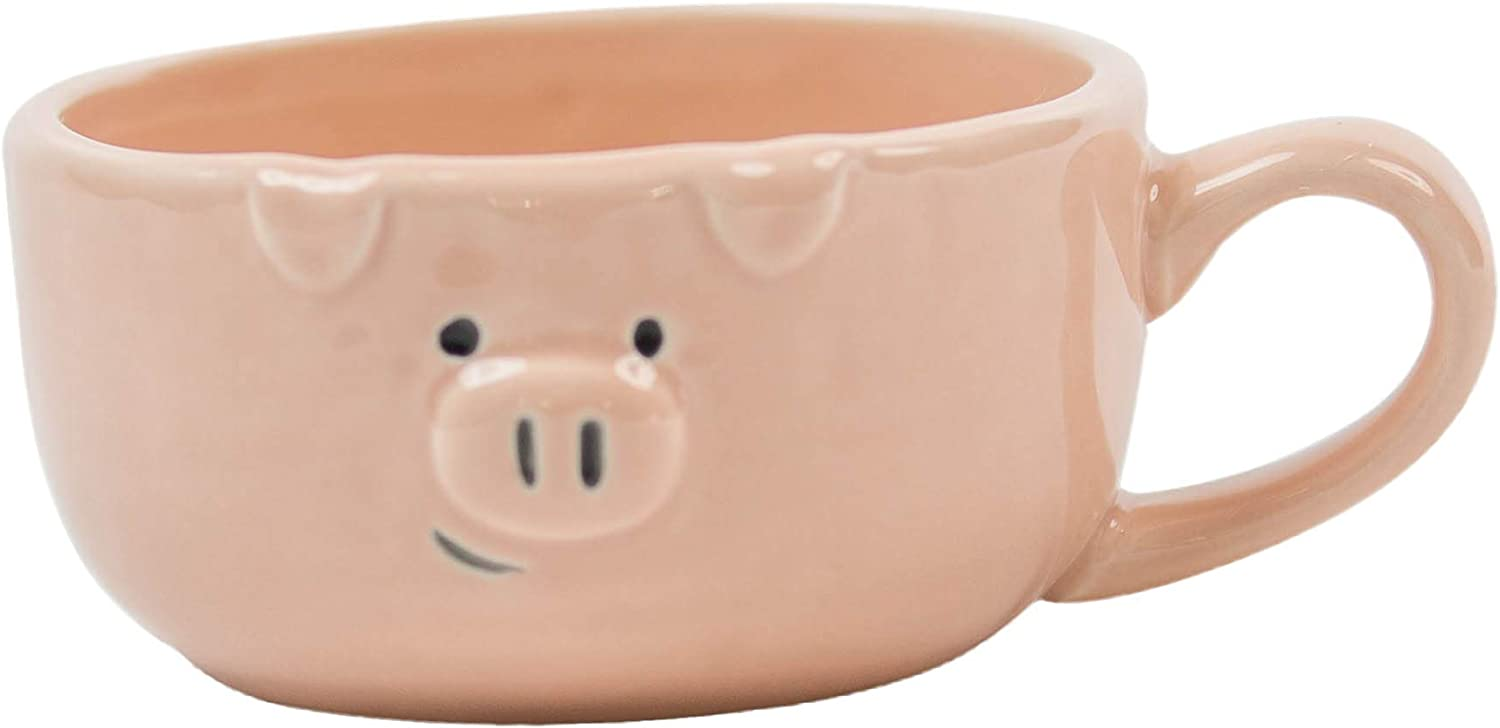 Pig Design Easy to Hold Pink Ceramic Cup   Stylish Texture Pig Coffee Mug with Unique Print Pattern for Espresso, Coffee, Cappuccino, Tea, & Milk - Great for Beverages Up to 240ml