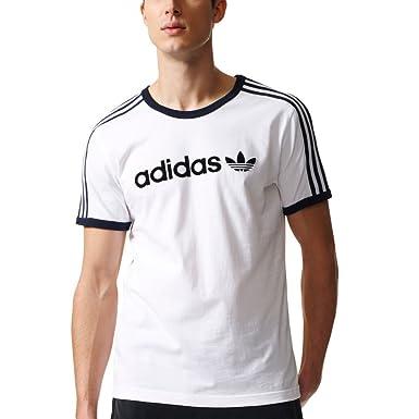 Adidas Originals Trefoil Lineal Camiseta - BR8981, Blanco/Negro: Amazon.es: Deportes y aire libre