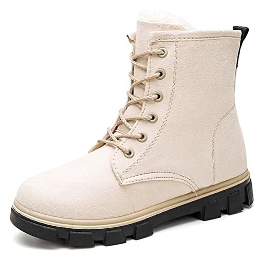Yi Buy Botas de Nieve Mujer Zapatillas de Invierno Piel Caliente Botines Niña Zapatos con Cordones