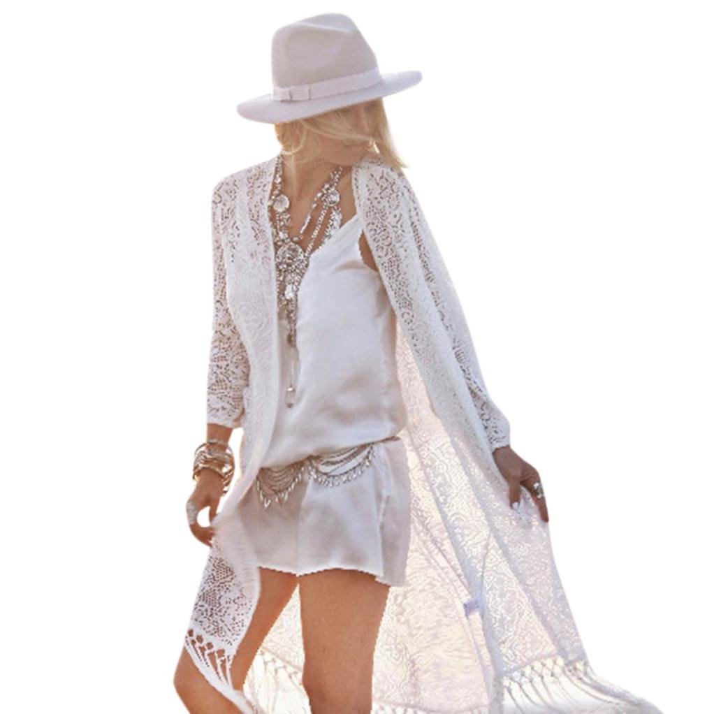 Clothing Kingfansion Women Lace Shawl Kimono Cardigan Cover up Long Tassel Smock