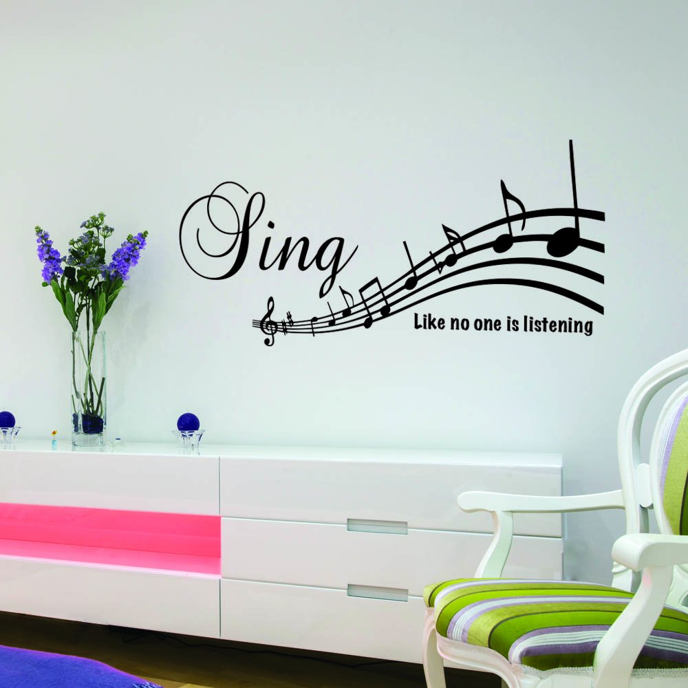 online design huge musical notes music wall art sticker lounge v c designs ltd tm sing like no one is listening cute birds quote music