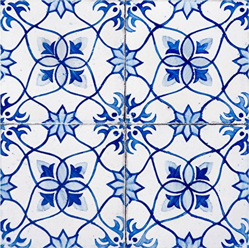 Mi Alma Backsplash Peel and Stick Tile Stickers 24 PC Set Authentic Tile Decals Bathroom & Kitchen Vinyl Wall Decals Easy to Apply Just Peel & Stick Home Decor (4x4 Inch, Blue Flower H19)