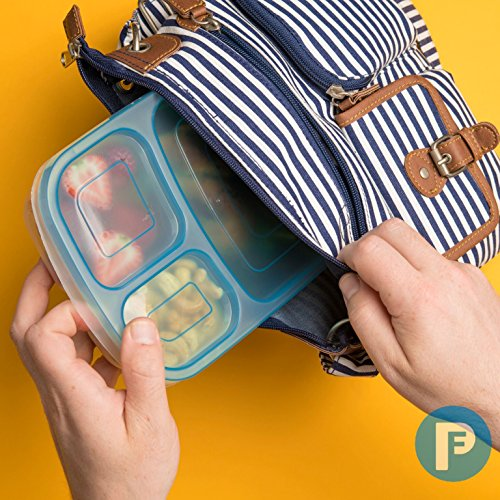 Bento Lunch Box 3 Compartment Food Containers – Set of 4 Storage Meal prep Container Boxes– Ideal for Adults, Toddler, Kids, Girls, and Boys – Free 2-in-1 Fork/Spoon & Puzzle Sandwich Cutter by Perfect Fit (Image #3)