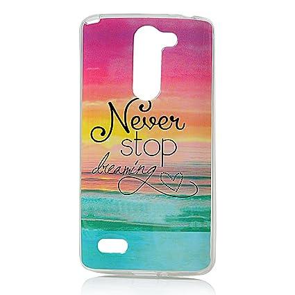 LG L Bello 1 Funda - Lanveni Chic Elegante Carcasa Suave TPU Gel Silicona ultra Slim para LG L Bello 1 Transparente Protective Case - Patrón Never ...