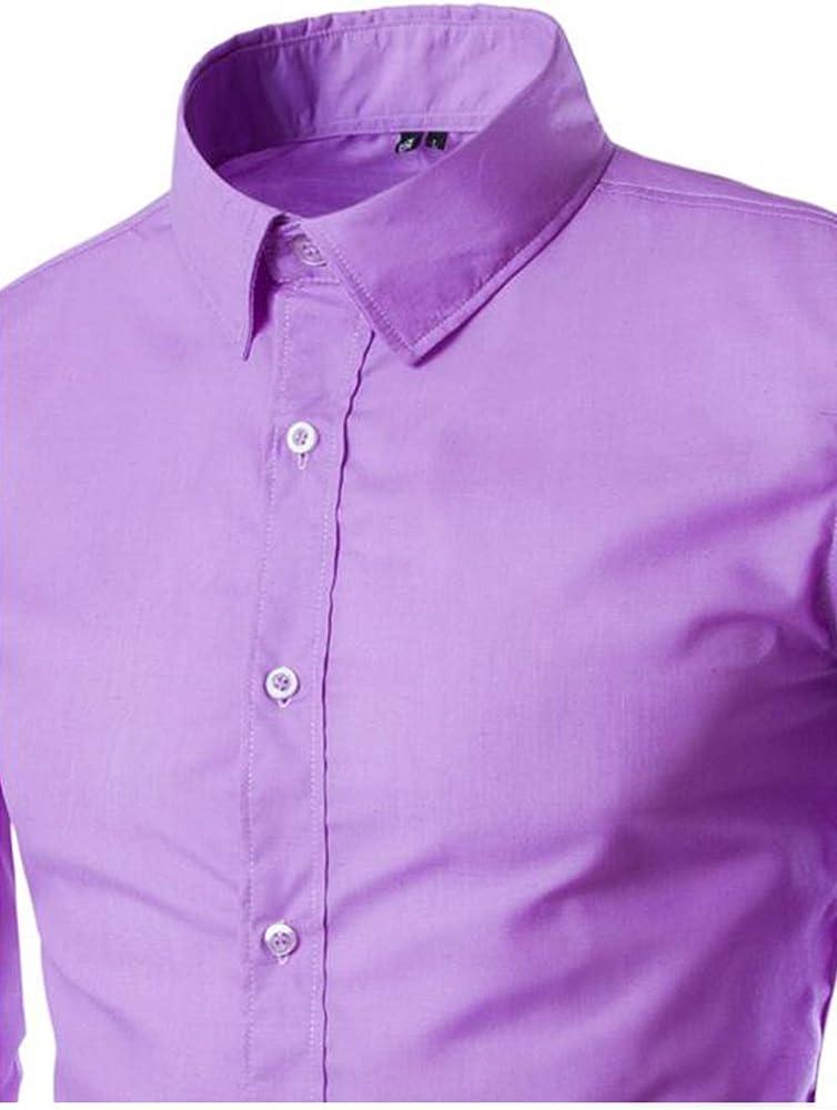 Hombre Botón Camisas Casual Manga Larga Corte Slim Vestido Camisa Púrpura XL: Amazon.es: Ropa y accesorios
