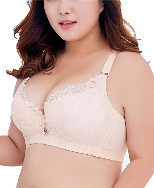 1544220070cdd Full Coverage Ajustable Straps Big Size Minimizer Thin Breathable Lace Vest  Bra Beige 32C