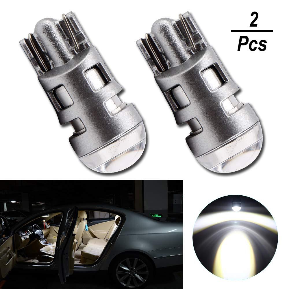 Grandview 2pcs Bianco Super Brillante 501 W5W 194 168 2825 T10 Lampadina a LED con 1-3030-SMD per Luci per Interni Auto, Cruscotti, Lampadine di Posizione, Lampadine per Targhe (DC 9-16V)