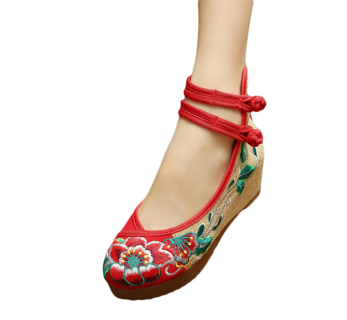 EXCELLANYARD Women's Embroidery Platform Wedges B01KPI5MN6 6 B(M) US|21-red