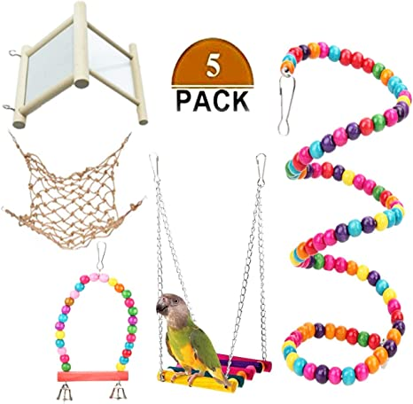 Waterfall Bird Chew Toy for Parrot Pet Bird Cage Wooden Hanging Toys for Budgie Parakeets Cockatiels Macaws Finches