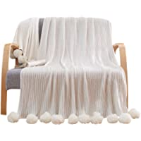 LIFEREVO 100% Cotton Hypoallergenic Striped Cable Knitted Throw Blanket Rug Pompoms Tassels Solid