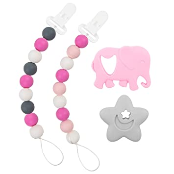 Light Pink) Yoofoss Pacifier Clip Silicone 4 Pack for Baby Girls BPA Free Teething Beads Fits Most Pacifier Styles /& Teething Toys
