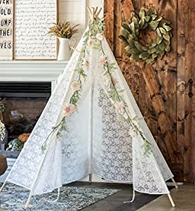 Lace Teepee Tent, 6ft Classic Ivory with Carry Bag for Indoor Outdoor, 5 Poles, by Tiny Land
