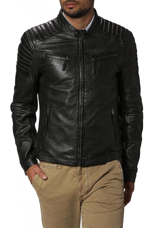 ABDys Men's Lambskin Leather jacket DKC658 Black