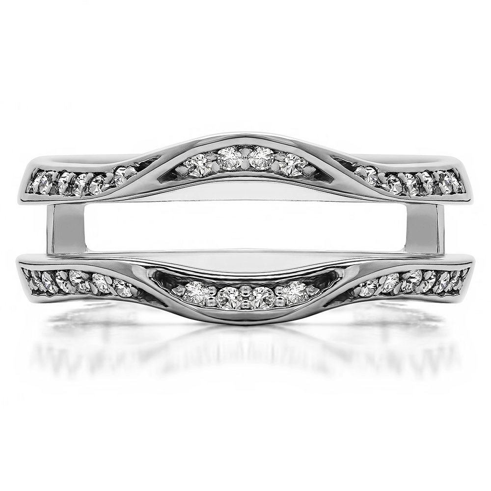 Fancy Classic Style Contour Ring Guard Enhancer Wedding Band with 0.44 cts of Diamonds and Sapphire in Silver by TwoBirch (Image #2)