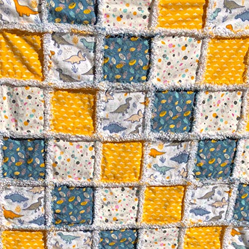 Dinosaur quilt baby rag quilt natural cotton and flannel quilt yellow blue grey white toddler quilt dinosaur themed nursery newborn quilt
