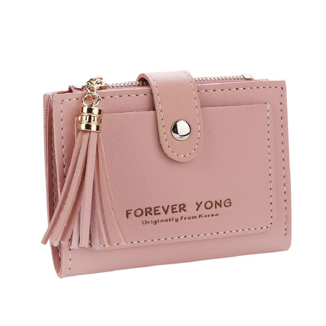 ShenPr Clearance Women Letters Tassel Zipper Short Wallet Coin Purse Card Holders Handbag (Pink)