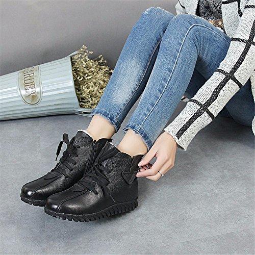La nueva suave de cuero sintético antideslizante más cachemira cálida botas de mujer gruesas zapatos planos de mamá zapatos de algodón black