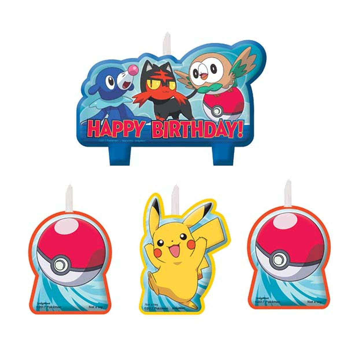 Napkins 4 Count Pokemon Birthday Candle Set, Multicolor AMI 171844