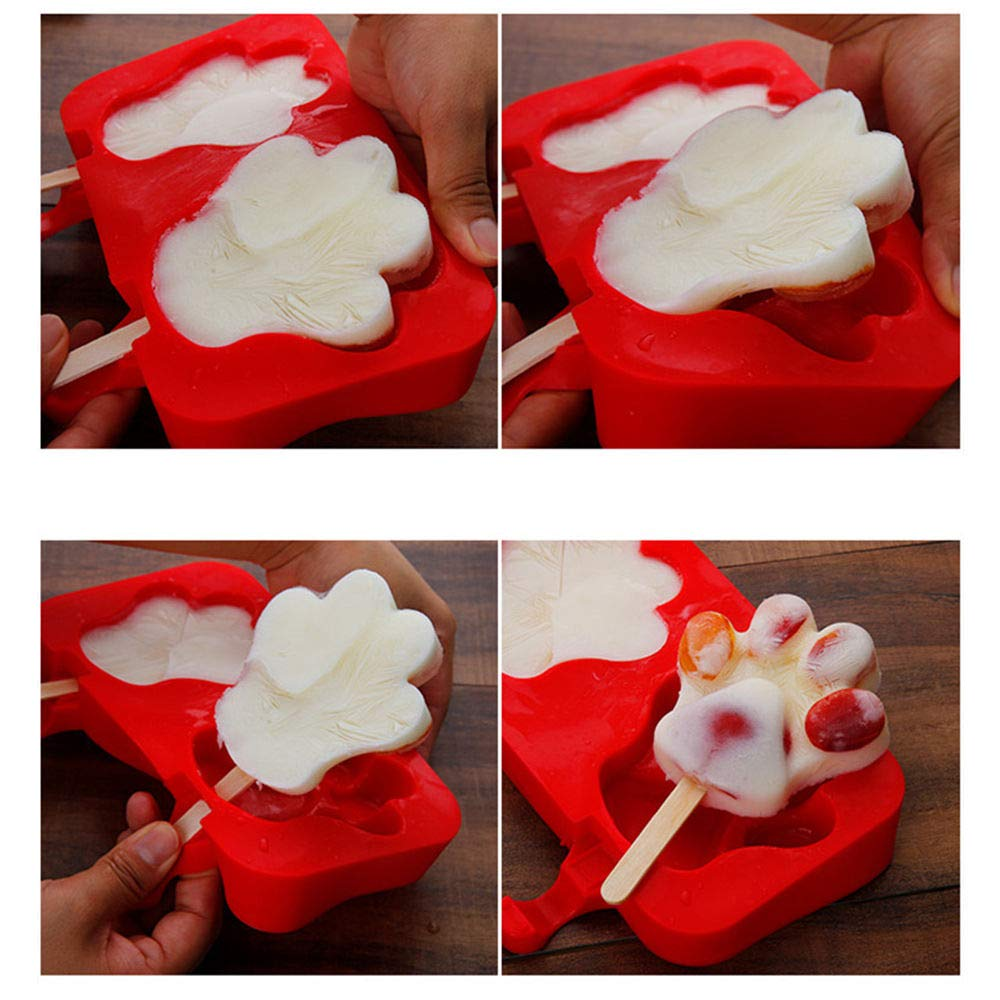 Moldes de silicona para jabón de chocolate y dulces, moldes para hacer helados con 40 palos de madera, pack de 2,3 cavidades de silicona Three rabbits: ...