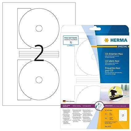 Beliebt Herma 5115 CD DVD Etiketten blickdicht (Ø 116 mm, Innenloch klein CO66