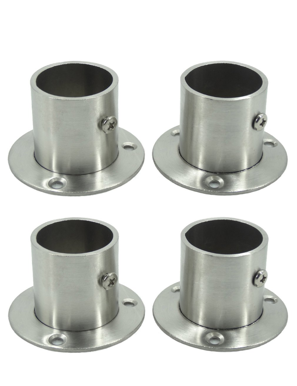 Stainless Steel Closet Wardrobe Rod Holder Socket End Support Bracket Flange for 32mm (Set of 4)