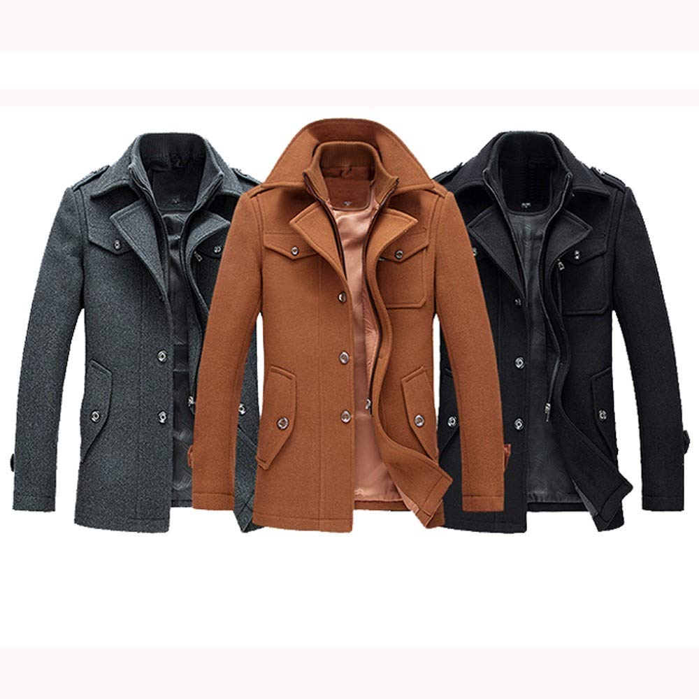 Business Trench Coat, Mens Casual Wool Winter Warm Jacket Fashion Handsome Plus Size Slim Overcoat at Amazon Mens Clothing store:
