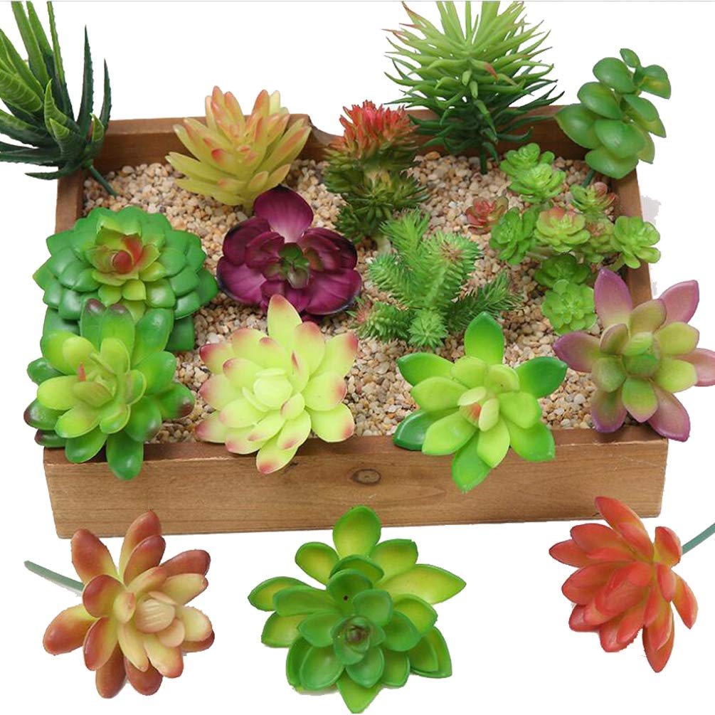 eQFeast 16Pcs Assorted Artificial Succulents Plants Textured Faux Picks Succulent Unpotted Fake Succulents Stems Floral Arrangement Accent for Home Decor Indoor Outdoor Wall Garden Decorations