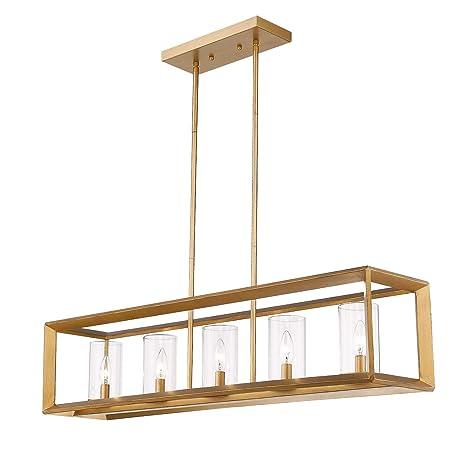 Super Emliviar 5 Light Dining Room Lighting Fixtures Vintage Pendant Light For Kitchen Island Antique Brass Finish With Clear Glass Shade 3040 5 Interior Design Ideas Tzicisoteloinfo