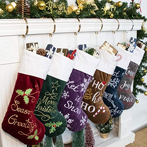 Large Christmas Stocking (GEX 2019 Family Christmas Stockings 6 Pack Embroidery Classic Luxury Velvet 22