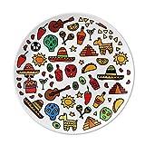 Skull Guitar Pepper Football Illustration Dessert Plate Decorative Porcelain 8 inch Dinner Home