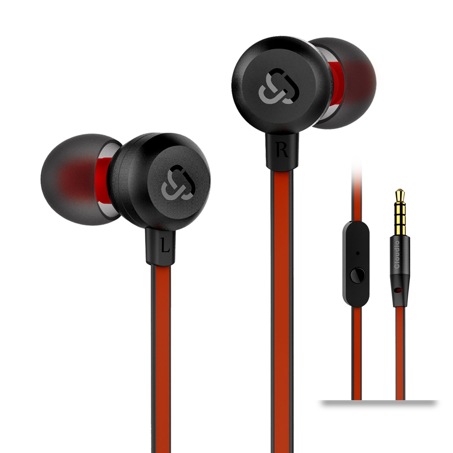 Earphones Cloudio J1 Noise Cancelling Earbuds In Ear Headphones With Microphone Noise Isolating Earbuds Sports Headphones Super Bass Earbuds For iPhone Android Phone iPad Tablet Laptop(Black) by Cloudio