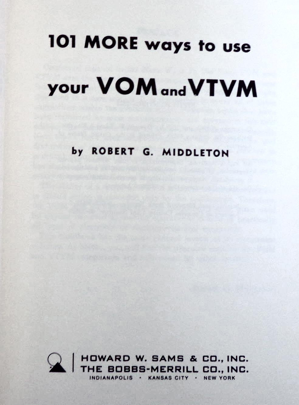 101 Ways to Use Your VOM and VTVM: Robert G. Middleton: 9780672205101:  Amazon.com: Books