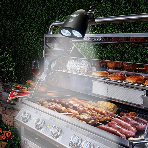 Barbecue Grill Light, RVZHI 360°Rotation Grill Lights for BBQ With 10 Super Bright LED Lights- Durable,Heat Resistant,Waterproof,100lm LED BBQ Light for Gas/Charcoal/Electric Grill-Battery Not Include by RVZHI (Image #1)
