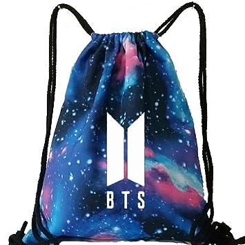 U-K-NOW BTS Kpop Mochila de lona luminosa con cordón ajustable, para niños, casual, bolsa de ...