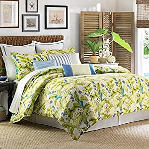 Queen comforter set tommy bahama blue palm for Kitchen queen set