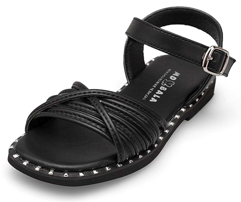 SFNLD InStar Girls' Casual Open Toe Low Cut Hook and Loop Antiskid Flats Sandals