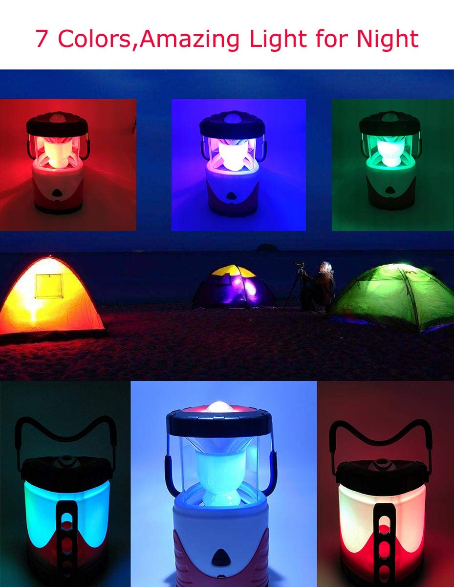 Camping Lantern Flashlight Lithium Battery Powered Rechargeable Led Lamp 2 Level Brightness 3 Modes Color Camp Lantern,USB Charging for Hurricane,Camping,Emergency,Power Outage ADS-007-Red Red ANDY STAR Tek Inc