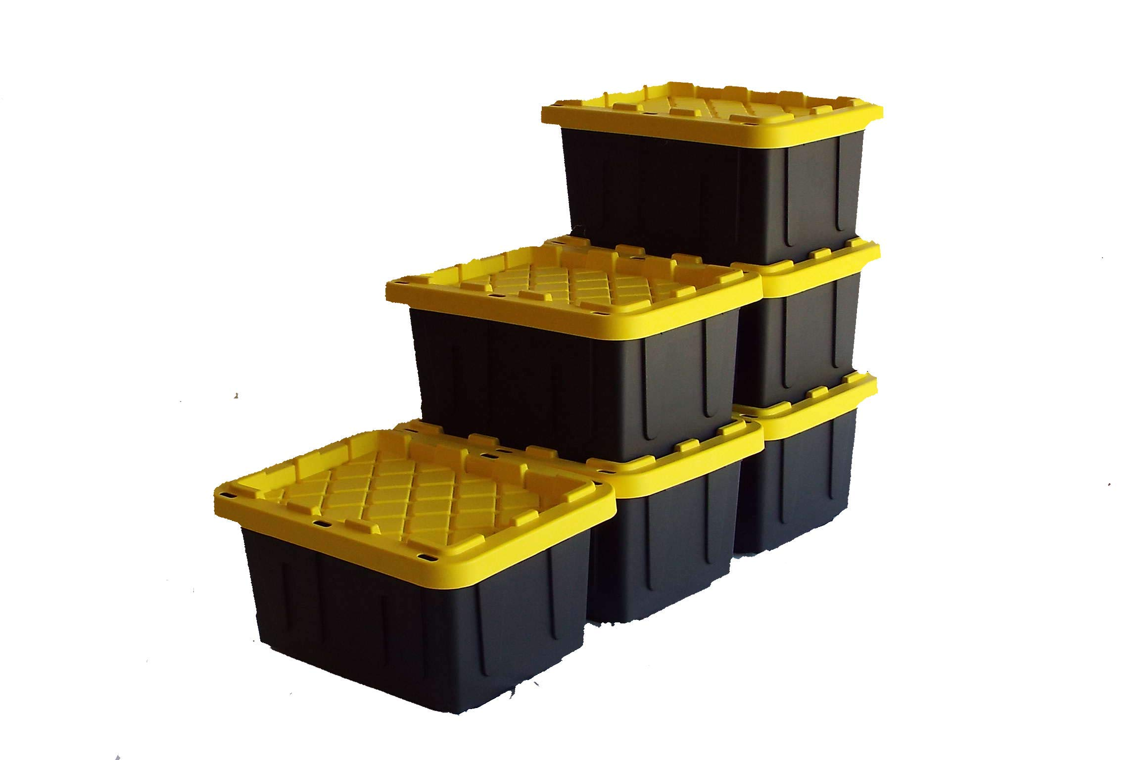 SAFARI USA 5 gallon Heavy Duty Storage Box/Tote With Lids (6 Pack, MADE IN THE USA, 20 Quart, 16''x12''X8.5'') Strong & Stackable Plastic Storage Bins for Under Bed, Garage, Home, Beach, Clothes & More! by Safari USA