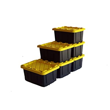 SAFARI USA 5 gallon Heavy Duty Storage Box/Tote With Lids (6 Pack, MADE IN THE USA, 20 Quart, 16 x12 X8.5 ) Strong & Stackable Plastic Storage Bins for Under Bed, Garage, Home, Beach, Clothes & More!